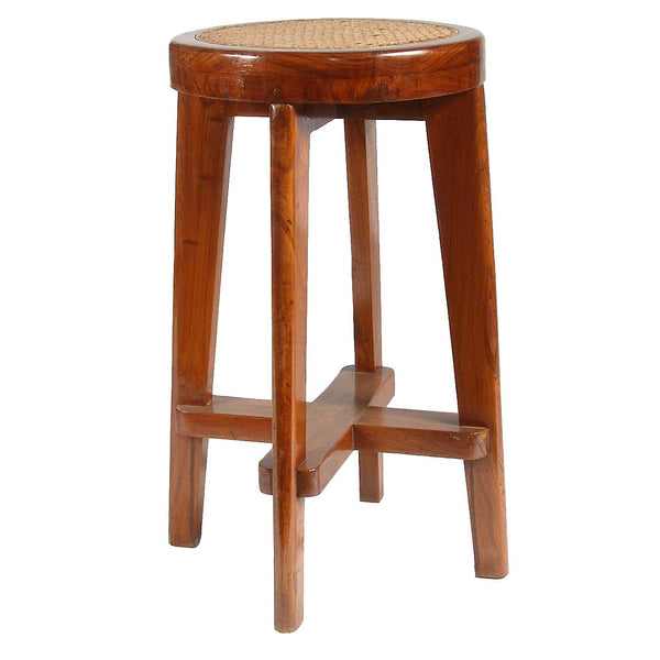 PIERRE JEANNERET Caned Teak Bar Stool from Chandigarh, India