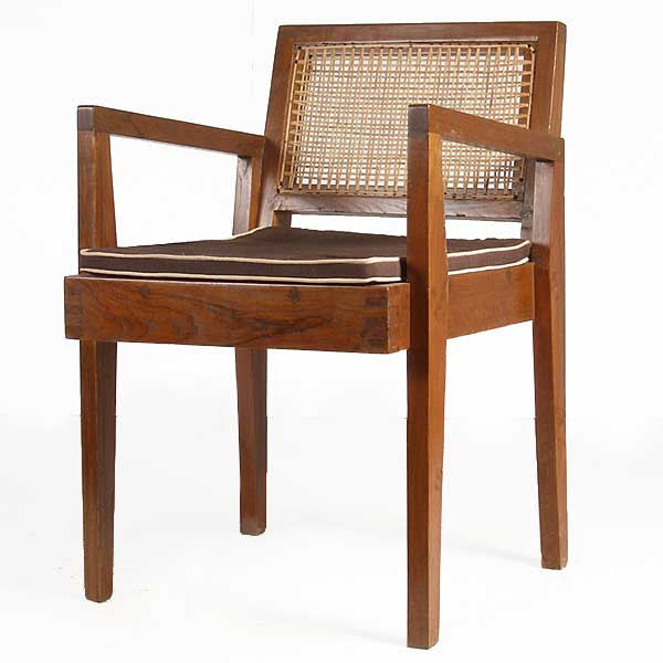Vintage PIERRE JEANNERET Caned Teak Armchair from Chandigarh, India