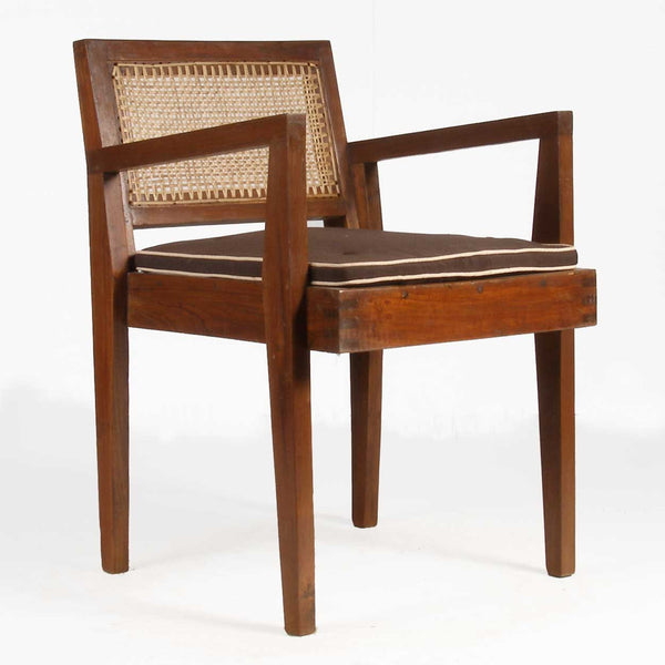 PIERRE JEANNERET Numbered Caned Teak Armchair from Chandigarh, India
