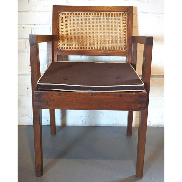 Assembled Set of Two Vintage PIERRE JEANNERET Numbered Caned Teak Armchairs from Chandigarh, India