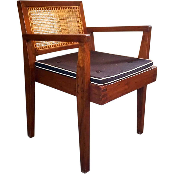 Assembled Set of Two Vintage PIERRE JEANNERET Caned Teak Armchairs from Chandigarh, India