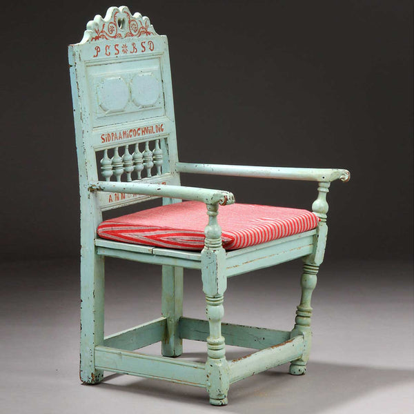 "Danish LARS ""HUGGER"" PEDERSEN Folk Art Painted Birch Armchair"