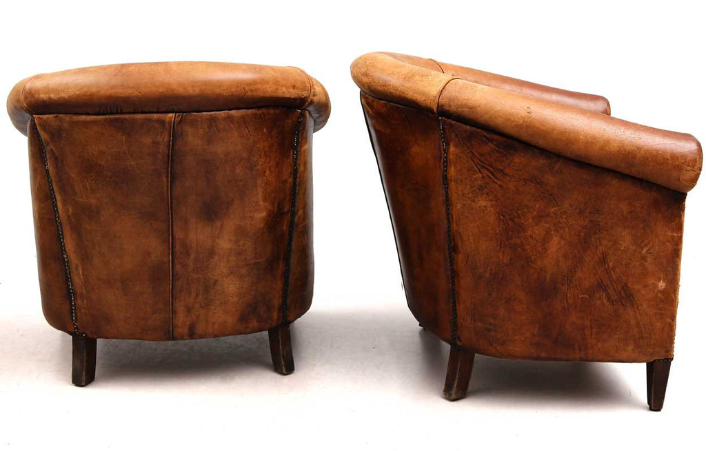 Pair of Danish Brown Leather Tub Chairs