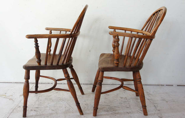 Two English Elm and Yew Wood Windsor Lowback Armchairs