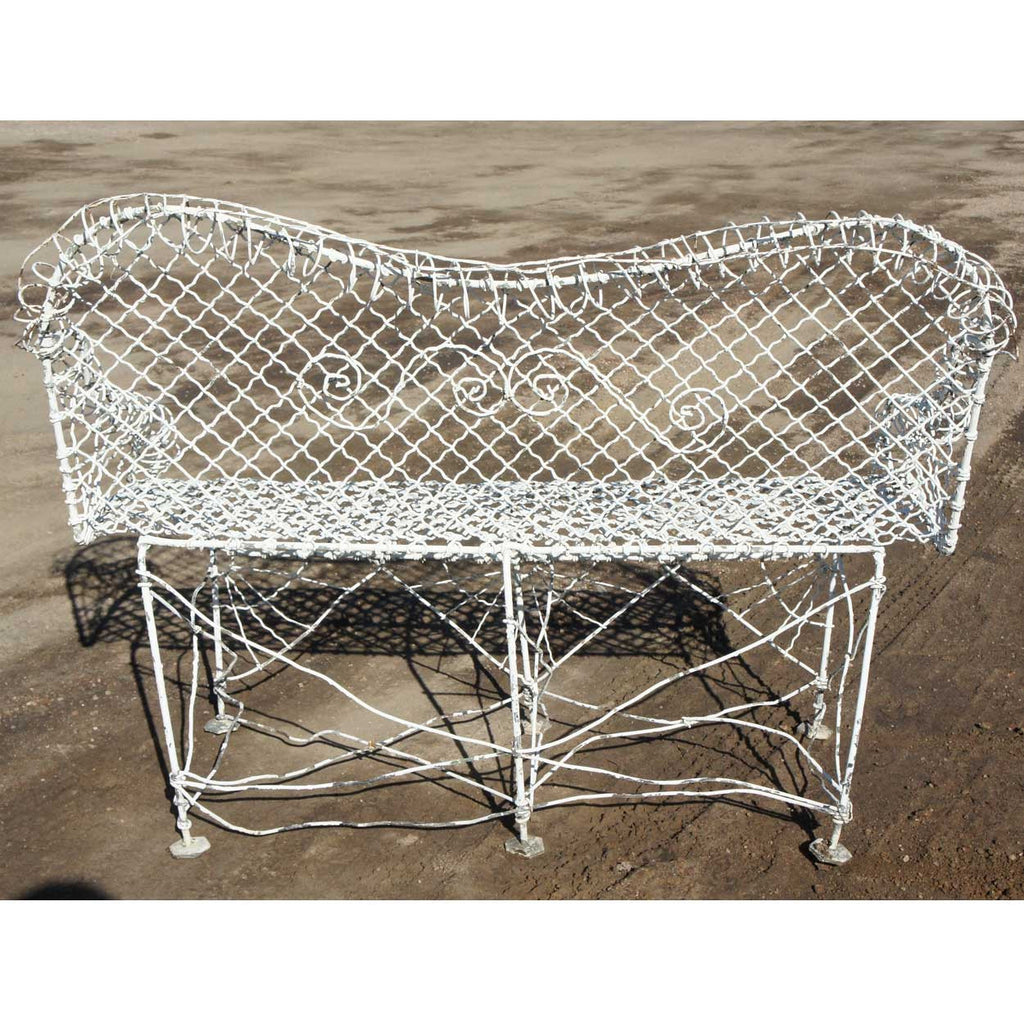 Small Victorian White Painted Iron Wire Garden Bench - Antique Garden Furniture