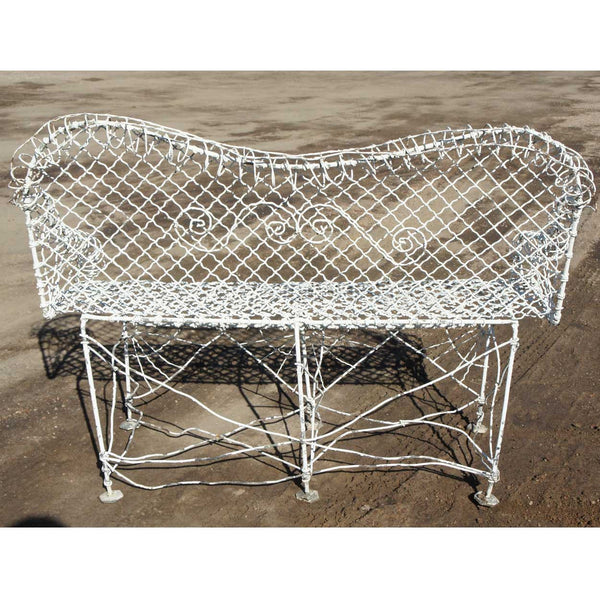Small Antique Victorian White Painted Iron Wire Garden Bench