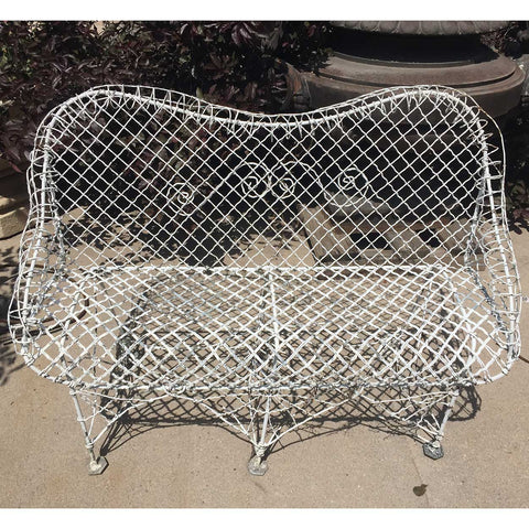 Small Victorian White Painted Iron Wire Garden Bench