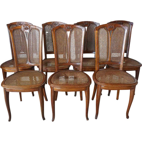 Set of Six French LOUIS MAJORELLE Art Nouveau Caned Mahogany Dining Side Chairs