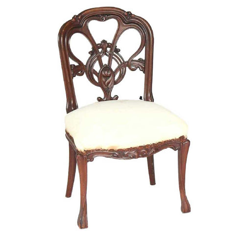 French Art Nouveau Mahogany Upholstered Side Chair