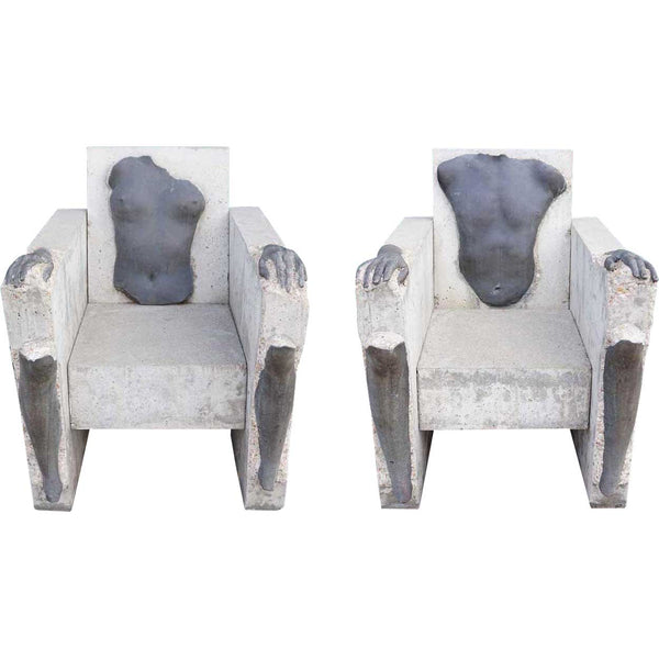 CAROLYN BRAAKSMA Pair of Cast Concrete and Bronze Sculptures, Leg and Arm Chairs