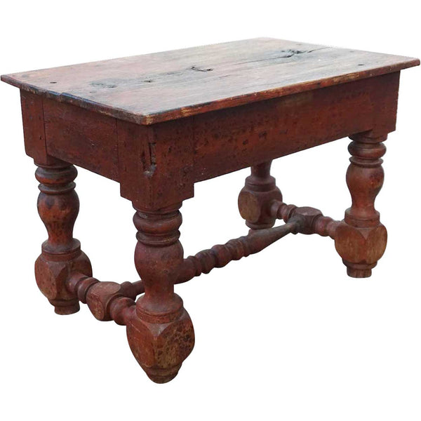 Early Rare Indian Colonial Red Teak Rectangular Stool / Side Table
