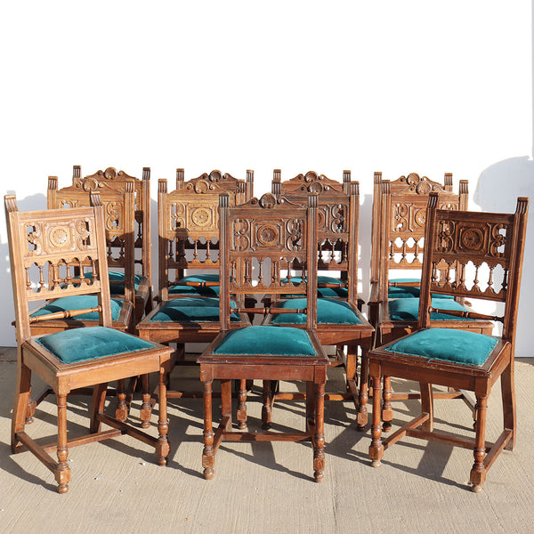 Set of 11 French Provincial Henri II Carved Walnut Upholstered Seat Dining Chairs