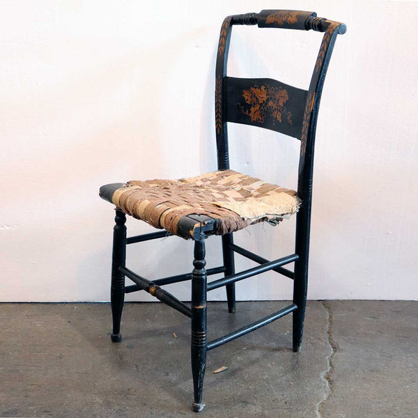 American Black Painted Hitchcock Fancy Side Chair