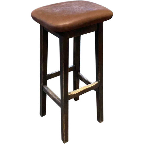 Custom Made Arts and Crafts Style Oak and Leather Upholstered Bar Stool
