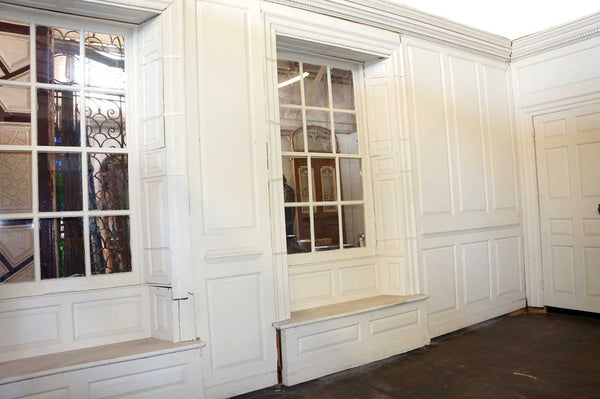 American Colonial Russell House White Painted Pine Paneled Drawing Room