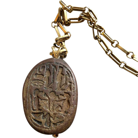 Long Ancient Egyptian Scarab Seal 14k Gold Pendant Necklace