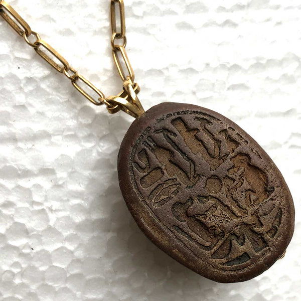 Ancient Egyptian Pottery Scarab Seal and 14k Gold American Chain Link Necklace