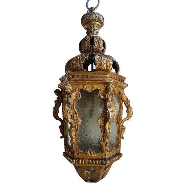 Large Italian Baroque Style Giltwood and Gesso Pendant 12-Light Hanging Lantern