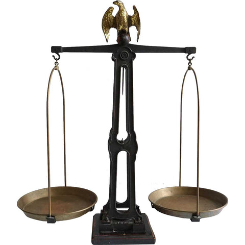 Large European Iron and Brass Eagle 15 kilogram Counter Balance Scale