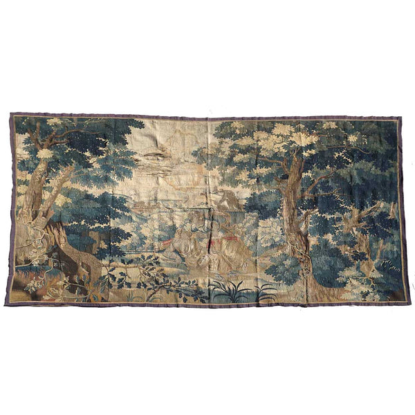 Large French/Belgian Baroque Verdure Tapestry Wall Hanging, Achilles Seducing Deidamia