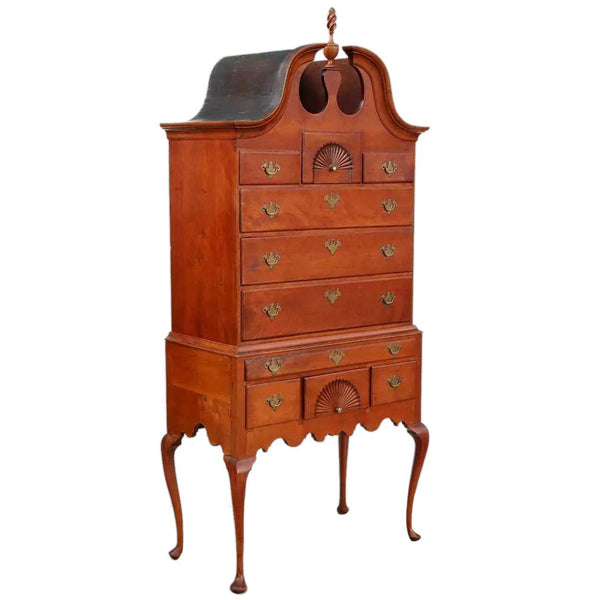 American New England Queen Anne Cherrywood Bonnet Top Highboy