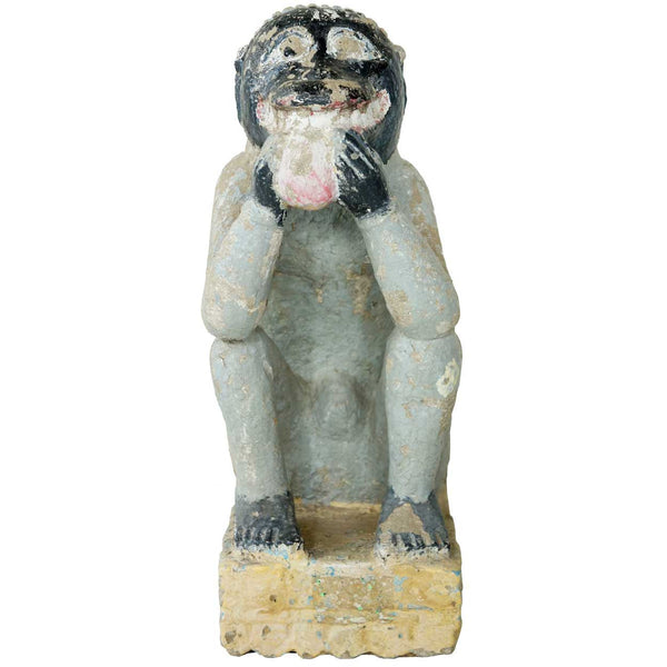 Indian Painted Stone Monkey Architectural Bracket