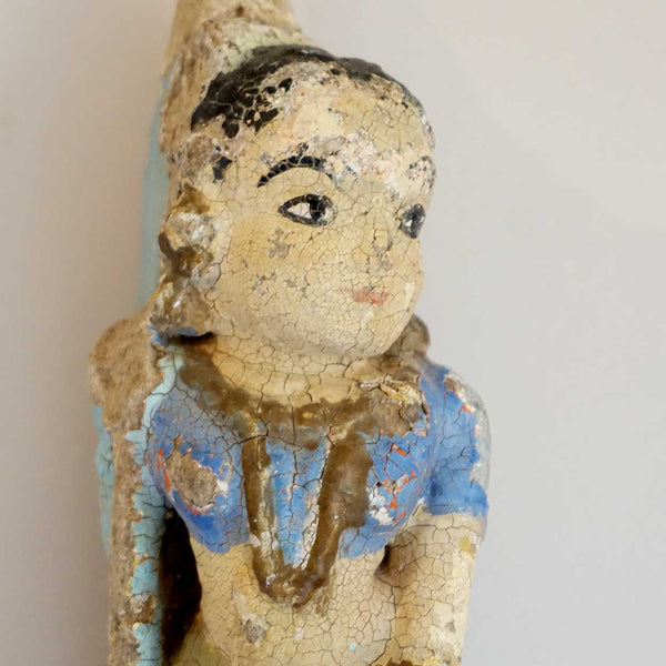 Indian Painted Stone Female Figure Architectural Bracket