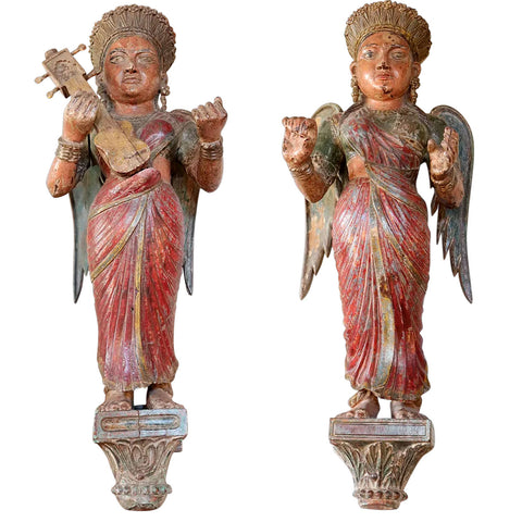 Pair of Large Indian Painted Teak Musical Angel Attendants Architectural Brackets
