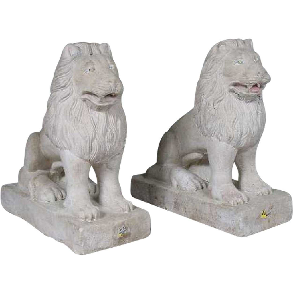 Pair of Anglo Indian Raj Period Stone Lion Garden Statuary Figures