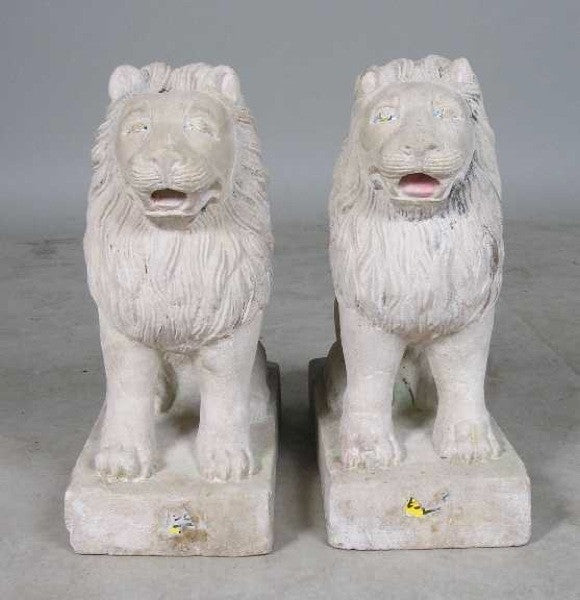 Pair of Anglo Indian Raj Period Stone Lion Models