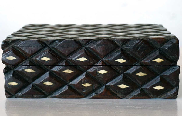 Small Anglo Indian Victorian Bone Inlaid Quilted Pattern Dresser Box