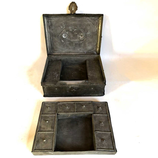 Anglo Indian Georgian Campaign Patinated Brass Desk Box