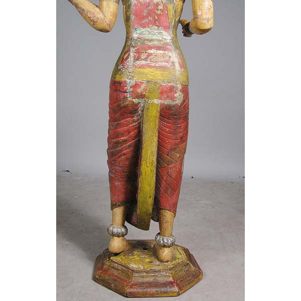 Pair of Large Indian Painted Teak Female Temple Attendants