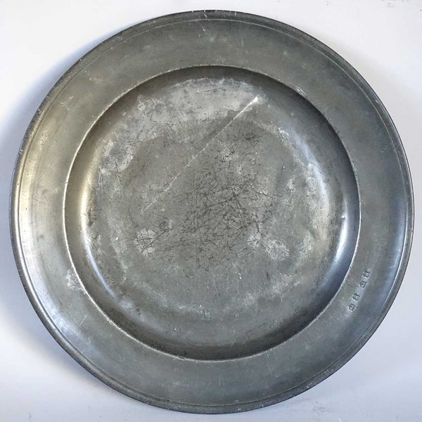 Large English Georgian Pewter Charger Plate