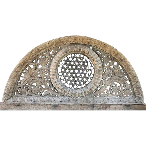 Indian Teak and Iron Grille Arched Transom