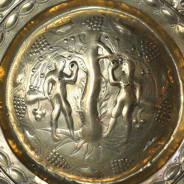 Early Northern European Adam and Eve Brass Repousse Alms Plate