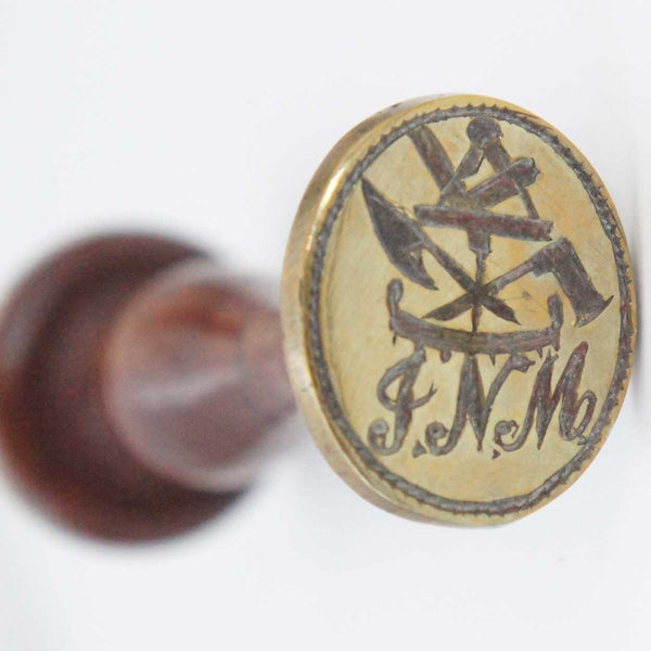 Continental Treen Handled Brass Wax Seal Stamp