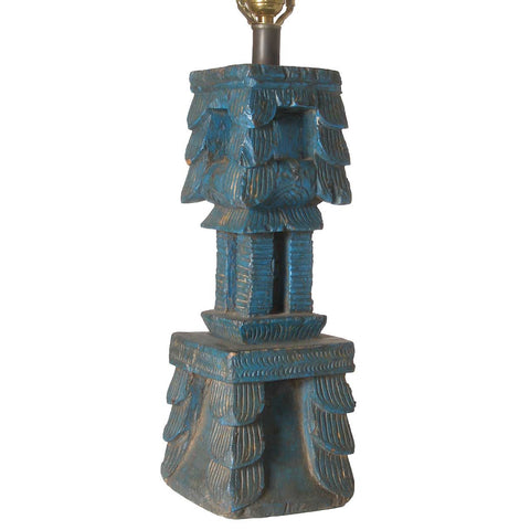 Indian Painted Teak Architectural Fragment as a Table Lamp