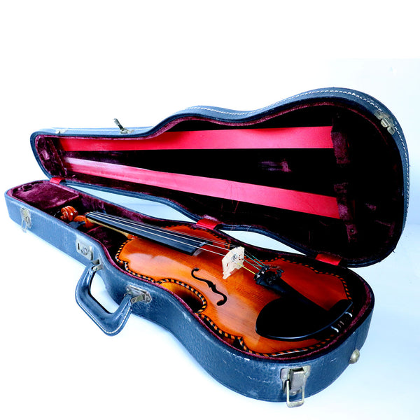 Vintage Hungarian Imre Toth Baroque Style Inlaid Spruce and Figured Maple Violin and Case