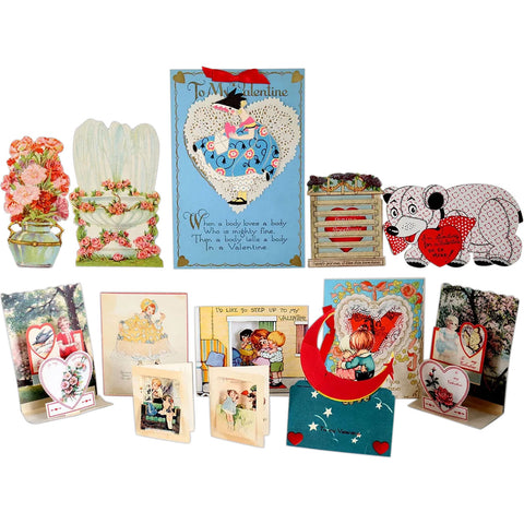 Collection of 13 Vintage Valentine Cards