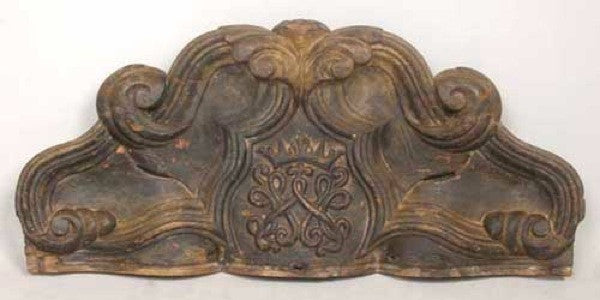Indo-Portuguese Painted Teak Altar Architectural Panel with Royal Crest