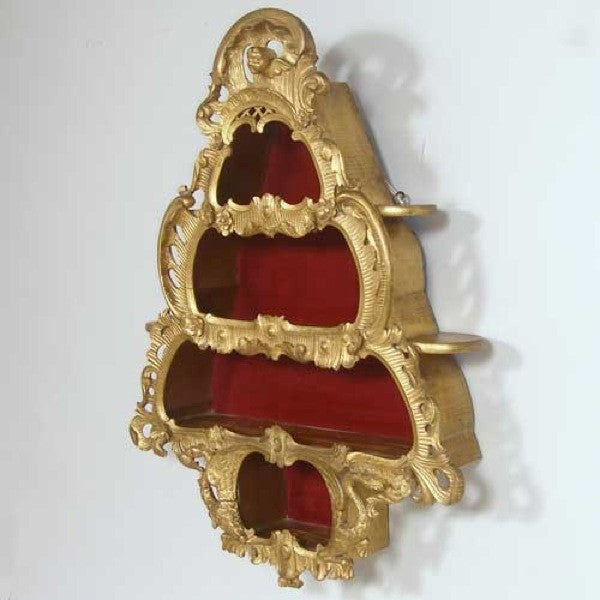 Scandinavian Rococo Style Gold Painted Hanging Bijouterie Cabinet Shelf