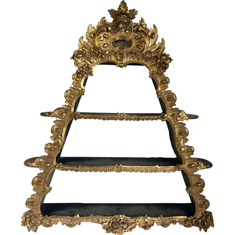 Small Danish Aaholm Castle Rococo Revival Giltwood Triangular Hanging Shelf