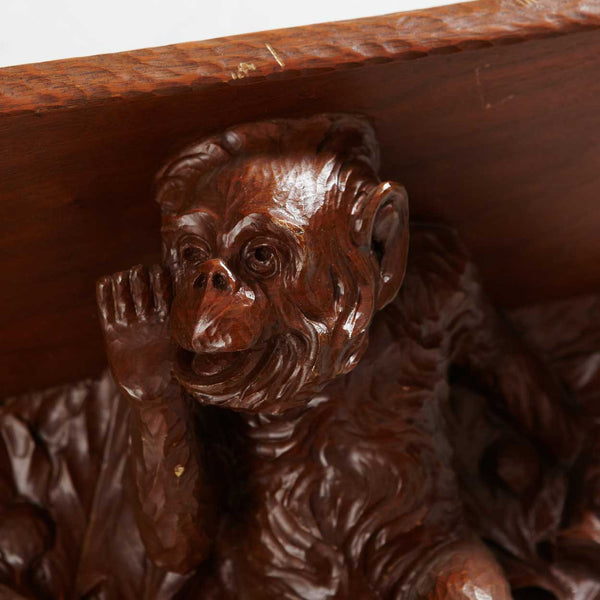 Swedish Walnut Wall Console Shelf with Monkeys