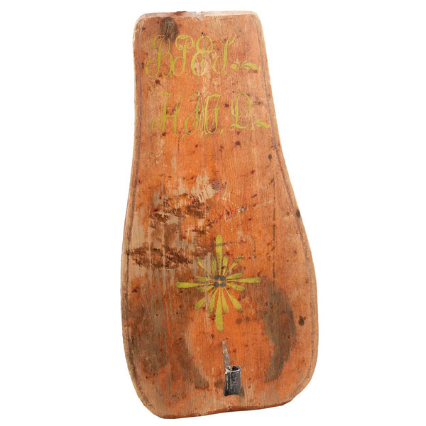 Swedish Folk Art Painted Pine and Iron One-Arm Candle Sconce