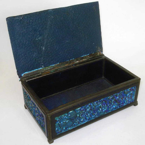 Rare American Tiffany Furnaces Molded Blue Favrile Glass and Bronze Box