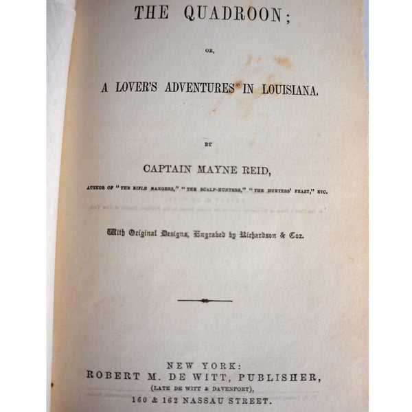 Book: The Quadroon by Captain Thomas Mayne Reid