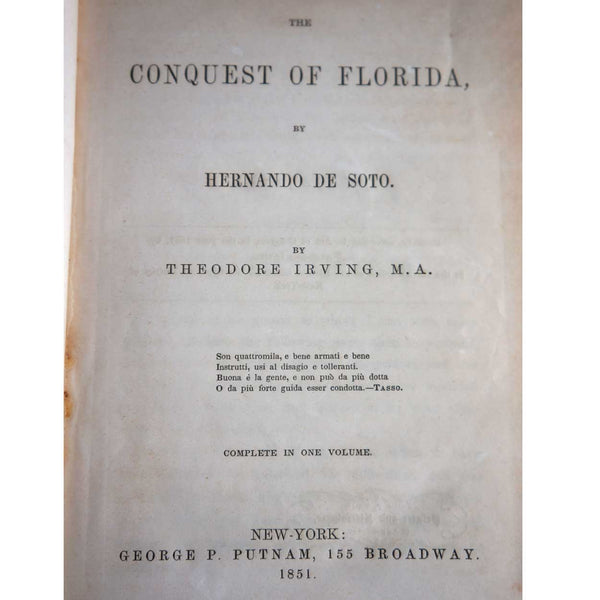 Book: The Conquest of Florida by Hernando de Soto by Theodore Irving