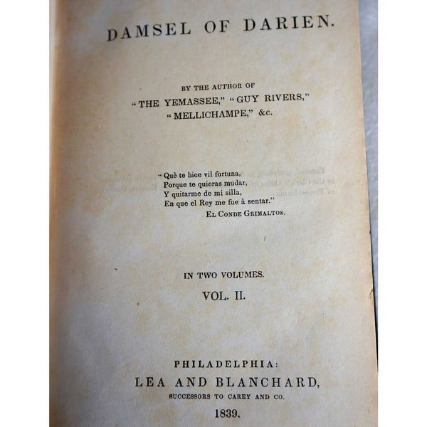 Book: Damsel of Darien Vol. II by William Gilmore Simms