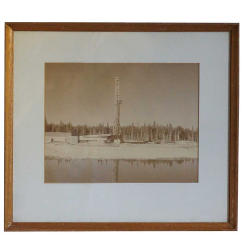 Vintage American Black and White Photograph, Oil Drilling Rig